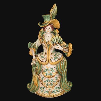Lumiera grande femmina h 40 in verde/arancio - Modellate a mano