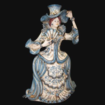 Lumiera grande femmina h 40 mono blu - Modellato a mano