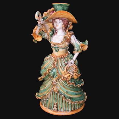 Lumiera media femmina h 34 verde/arancio - Modellato a Mano