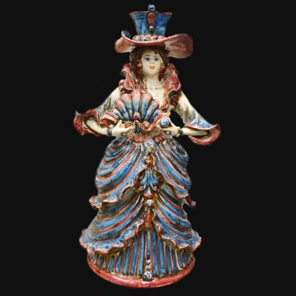 Lume ornamentale Linea Serie D'Arte in Blù e Arancio