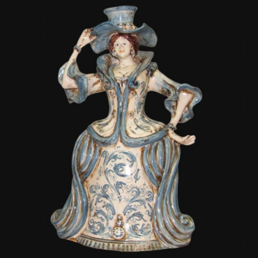 Centrotavola Serie d'arte in Blu e Arancio in ceramica artigianale di Caltagirone