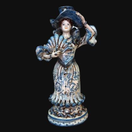 Lumiera piccola femmina h 31 mono blu - Modellata a mano