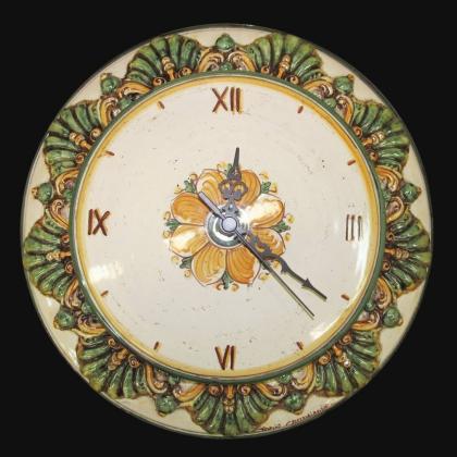Orologio Ø 38 plastico sofia verde/arancio - Ceramiche di Caltagirone Sofia