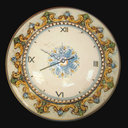 Typical Sicilian ceramic clock - Caltagirone artistic ceramics.