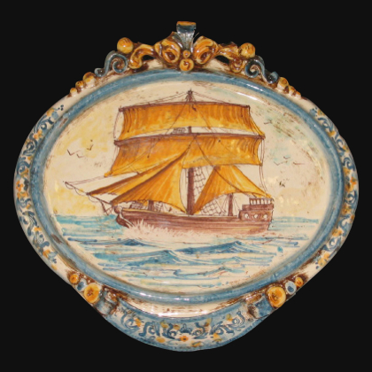 Medium horizontal oval with maxi sailing ship 23x25 blue / orange in Caltagirone Artistic Ceramics