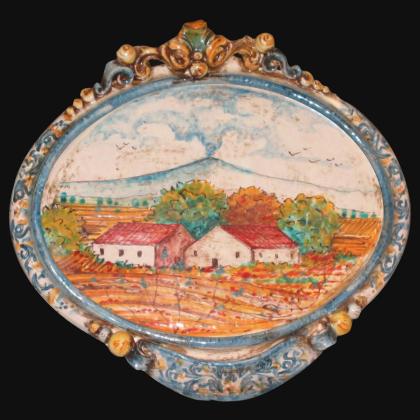 Ovale orizzontale medio con paesaggio etna 23x25 blu/arancio in Ceramica Artistica di Caltagirone