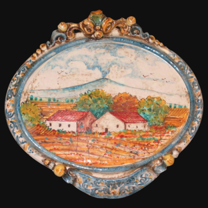 Medium horizontal oval with etna landscape 23x25 blue / orange in Caltagirone Artistic Ceramics