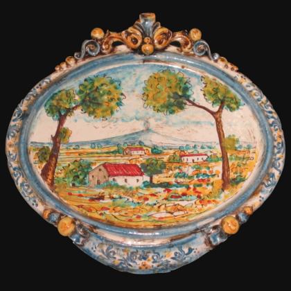 Medium horizontal oval with landscape cm 23x25 blue / orange in Artistic Ceramics of Caltagirone