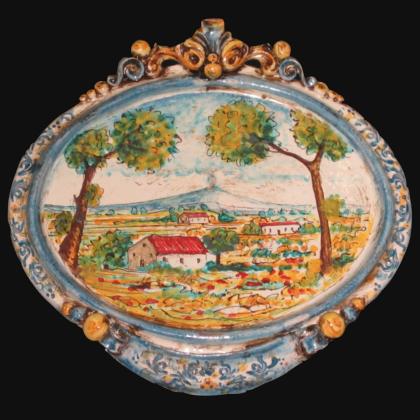 Ovale orizzontale medio con paesaggio cm 23x25 blu/arancio in Ceramica Artistica di Caltagirone
