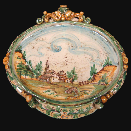 Ovale orizzontale medio c/paesaggio 23x25 verde/arancio in Ceramica Artistica di Caltagirone