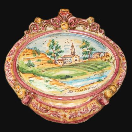 Medium horizontal oval with landscape 23x25 bordeaux/orange in Caltagirone Artistic Ceramics