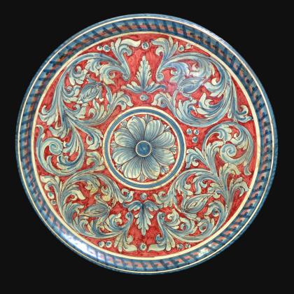 Piatto ornamentale Ø 35/40/45 ornato blu/bordeaux in ceramica artigianale di Caltagirone.
