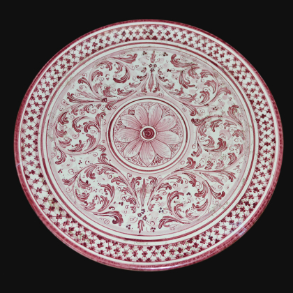 Ornamental plate Ø 35/40 s. mono bordeaux in artistic ceramic of Caltagirone
