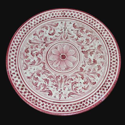 Piatto ornamentale Ø 35/40 s. d'arte mono bordeaux in ceramica artistica di Caltagirone