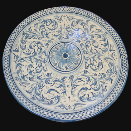 Ornamental dsih Ø 35/40 mono blue in artistic ceramic of Caltagirone
