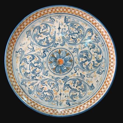 Piatto ornamentale Ø 35/40 s. d'arte blu e arancio in ceramica artistica di Caltagirone