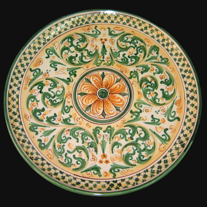 Ornamental plate Ø 35/40 s. of blue and orange ceramic art of Caltagirone