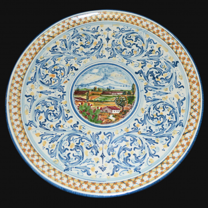 Ornamental plate Ø 35/40 s. blue/orange in artistic ceramic of Caltagirone