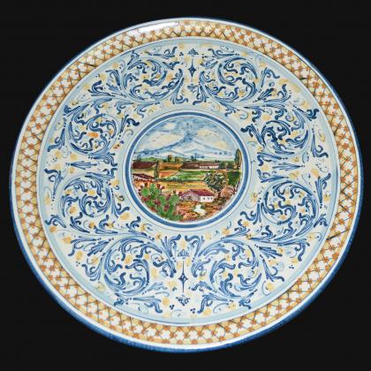 Piatto ornamentale Ø 35/40 serie d'arte in blu/arancio in ceramica artistica di Caltagirone