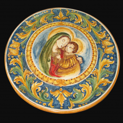Ornamental plate Ø 40 with Madonna Maria decorated with Caltagirone artistic ceramic calatino