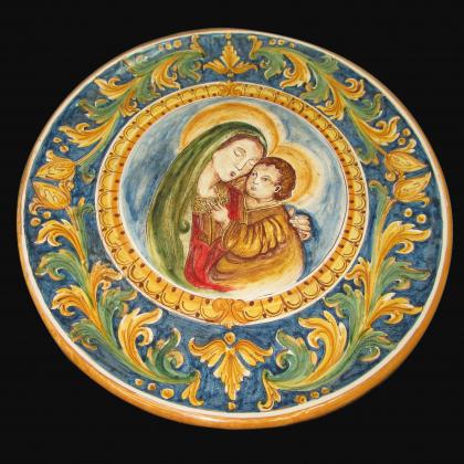 Piatto ornamentale Ø 40 c/madonna maria ornato calatino in ceramica artistica di Caltagirone