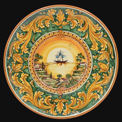 Ornamental Plate Ø 35/40 with sailing ship decorated with a green background in artistic ceramic from Caltagirone