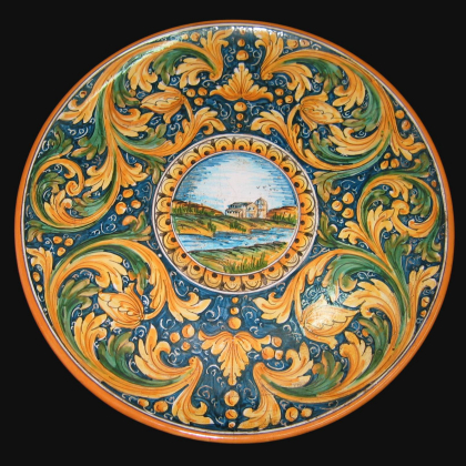 Piatto Ø 35/40 con paesaggio ornato calatino in ceramica artigianale di Caltagirone.