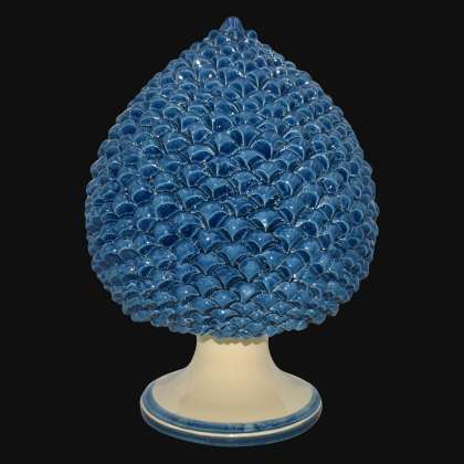 Caltagirone handmade pinecone modeled by hand height 25/40 monochrome of blue