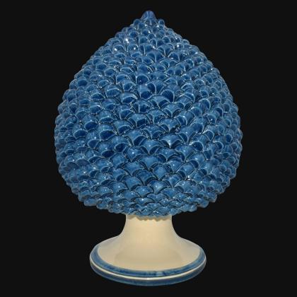 Pigna artigianale di Caltagirone modellata a mano altezza 25/40 monocromia di blu