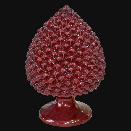 Caltagirone handmade pinecone modeled by hand height 25/40 in integral bordeaux