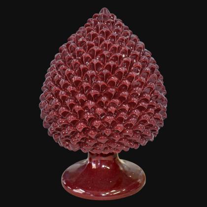 Pigna artigianale di Caltagirone modellata a mano altezza 25/40 Bordeaux integrale