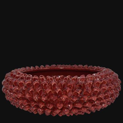 Centrotavola a Pigna artigianale di Caltagirone modellata a mano mono bordeaux integrale
