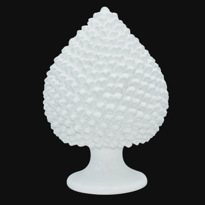 Caltagirone handmade pinecone modeled by hand height 25/40 white line