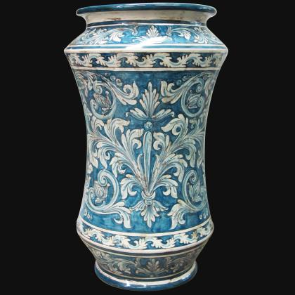 Portaombrello ad albarello h 50 ornato mono blu Ceramiche sofia di Caltagirone