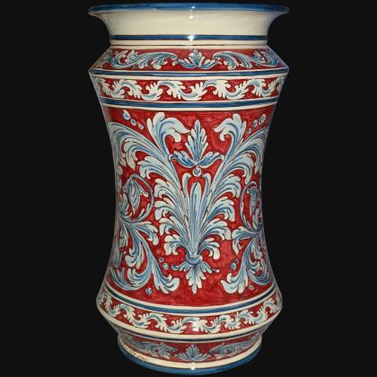 Portaombrelli ad albarello h 50 ornato blu e bordeaux Ceramiche Sofia di Caltagirone