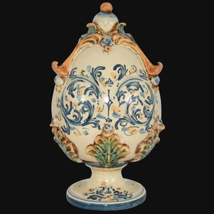 Uovo in ceramica h 25 plastico Sofia tricolore - Ceramiche di Caltagirone