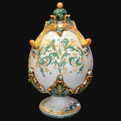 Uovo in ceramica h 25 plastico Sofia verde/arancio - Ceramiche di Caltagirone