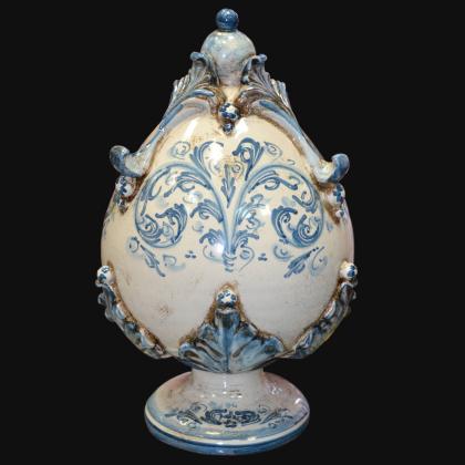 Uovo in ceramica h 25 plastico Sofia mono blu - Ceramiche di Caltagirone