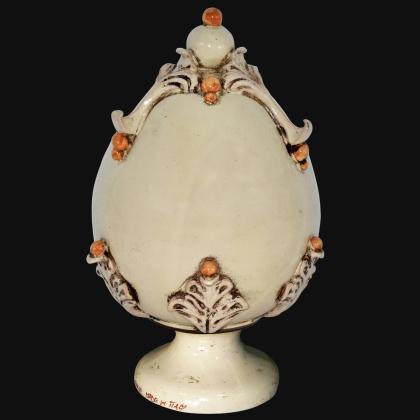 Uovo in ceramica h 25 plastico Sofia Avorio e Giallo - Ceramiche di Caltagirone