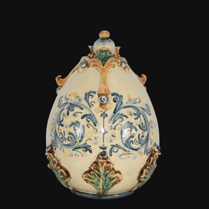 Uovo in ceramica h 22 plastico Sofia tricolore - Ceramiche di Caltagirone