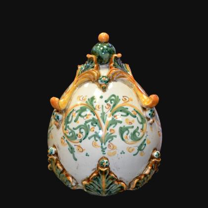 Uovo in ceramica h 22 plastico Sofia verde/arancio - Ceramiche di Caltagirone