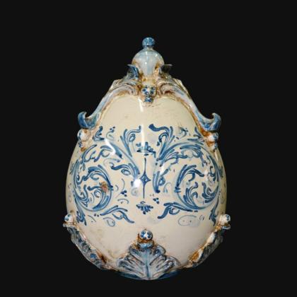 Uovo in ceramica h 22 plastico Sofia mono blu - Ceramiche di Caltagirone