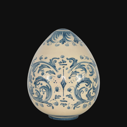 Uovo in ceramica h 20 Serie d'arte mono blu - Ceramiche di Caltagirone
