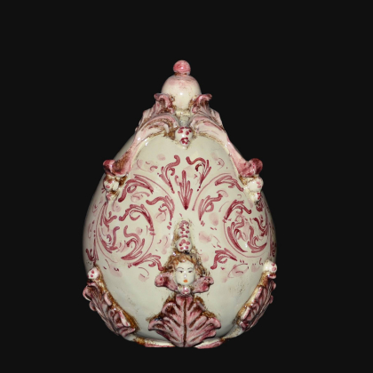 Uovo in ceramica h 22 plastico Sofia mono bordeaux - Ceramiche di Caltagirone