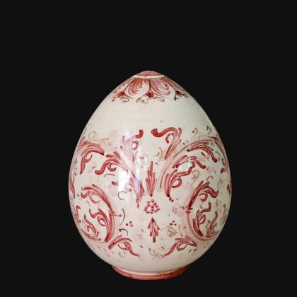 Uovo in ceramica h 20 Serie d'arte mono bordeaux - Ceramiche di Caltagirone