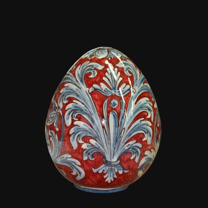 Uovo in ceramica h 20 Ornato blu e bordeaux - Ceramiche di Caltagirone