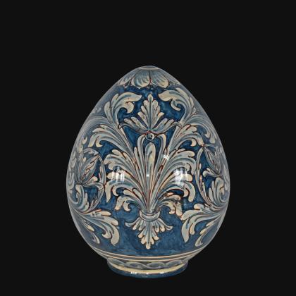 Sofia egg h 20 ornate mono blu - Caltagirone ceramics