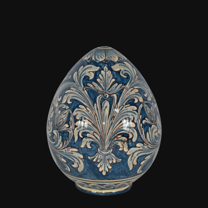 Uovo in ceramica h 20 Ornato mono blu - Ceramiche di Caltagirone