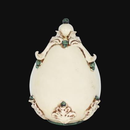 Uovo in ceramica h 22 plastico Sofia Avorio e Verde - Ceramiche di Caltagirone