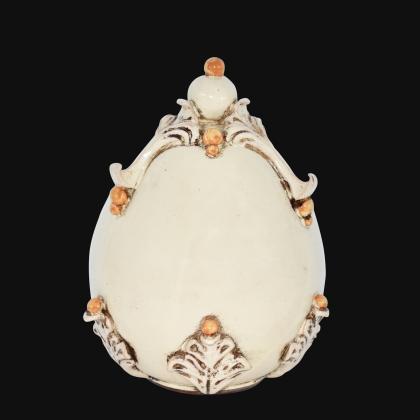 Uovo in ceramica h 22 plastico Sofia Avorio e Giallo - Ceramiche di Caltagirone